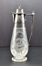 Lot 176: AESTHETIC MOVEMENT SILVER PLATE MOUNTED GLASS DECANTER