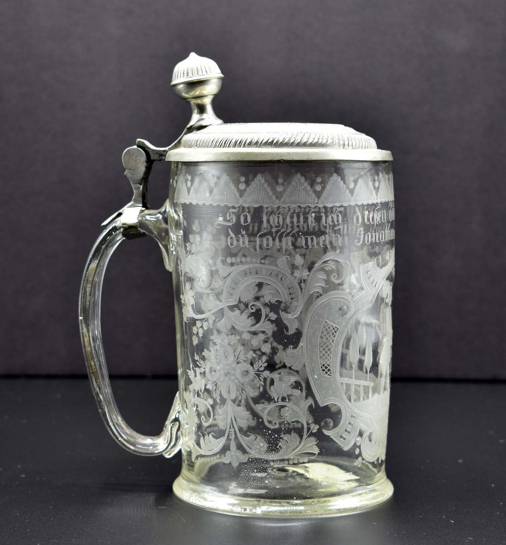 GERMAN PEWTER-MOUNTED COLORLESS GLASS TANKARD
