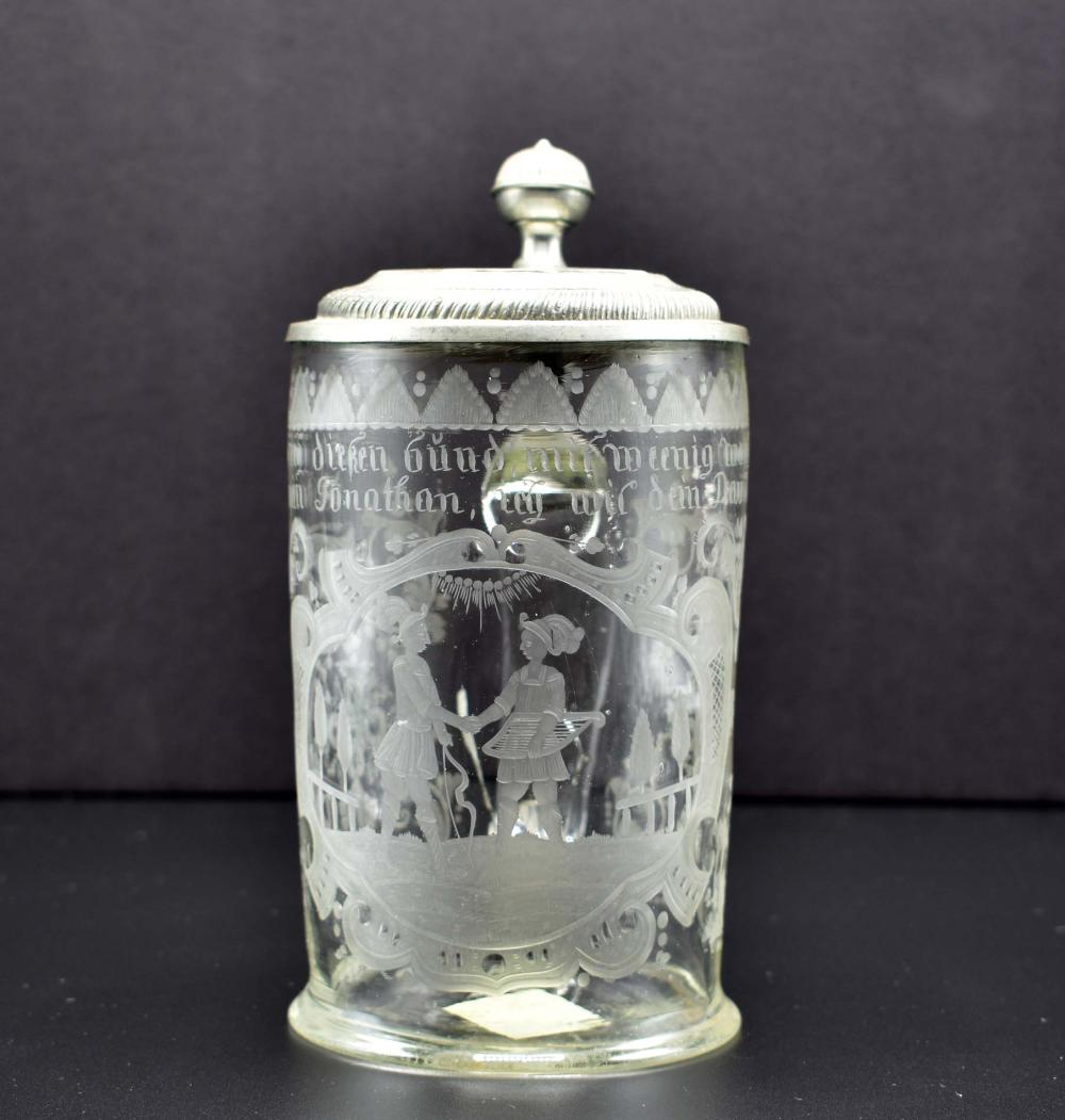 Lot 177: GERMAN PEWTER-MOUNTED COLORLESS GLASS TANKARD