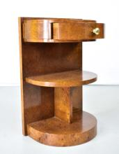 Lot 214: PAIR OF FRENCH ART DECO BURLWOOD BEDSIDE TABLES