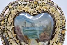 Lot 188: AMERICAN HEART SHAPED SAILOR VALENTINE
