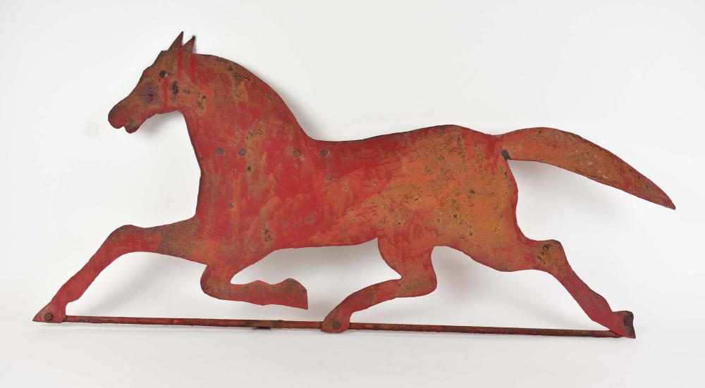 Lot 191: PAINTED SHEET TIN RUNNING HORSE WEATHERVANE