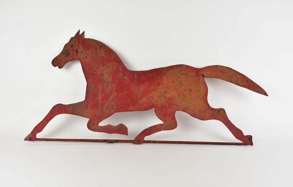 PAINTED SHEET TIN RUNNING HORSE WEATHERVANE