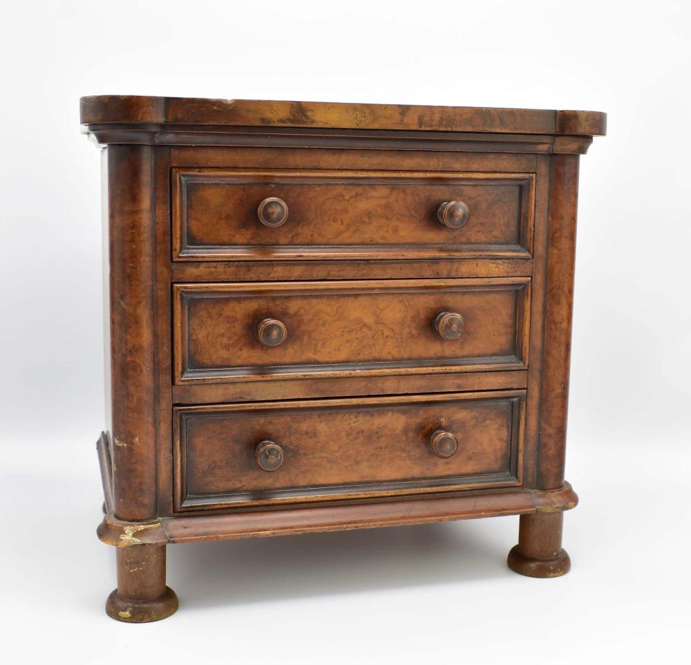 LATE EMPIRE MAHOGANY MINIATURE CHEST OF DRAWERS