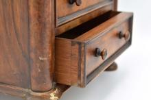 Lot 197: LATE EMPIRE MAHOGANY MINIATURE CHEST OF DRAWERS