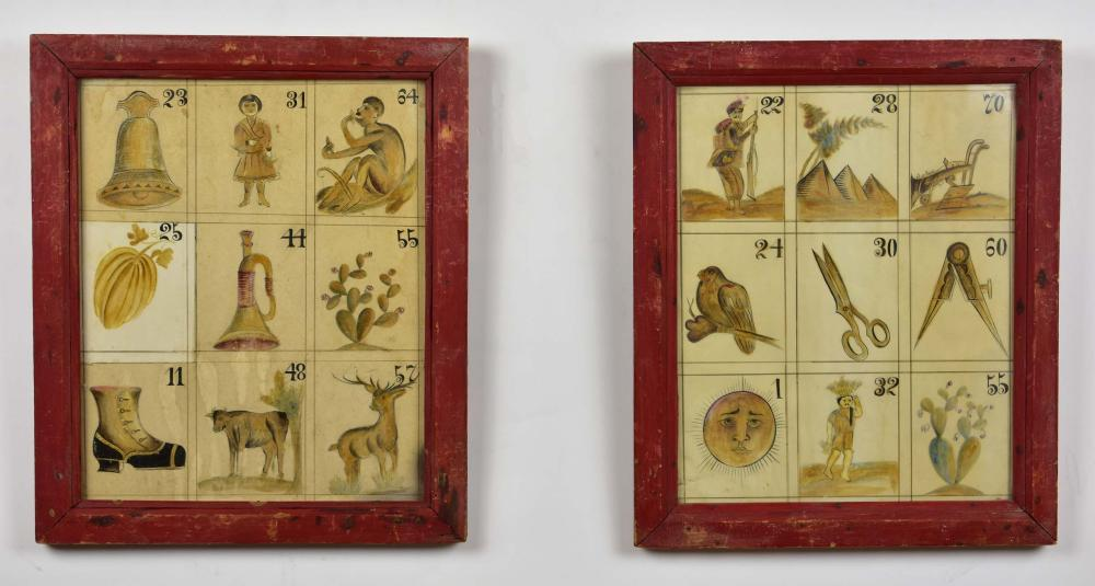 PAIR OF MEXICAN PAINTED PAPER LOTTARIE