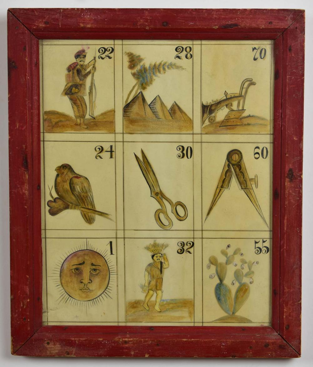 Lot 199: PAIR OF MEXICAN PAINTED PAPER LOTTARIE