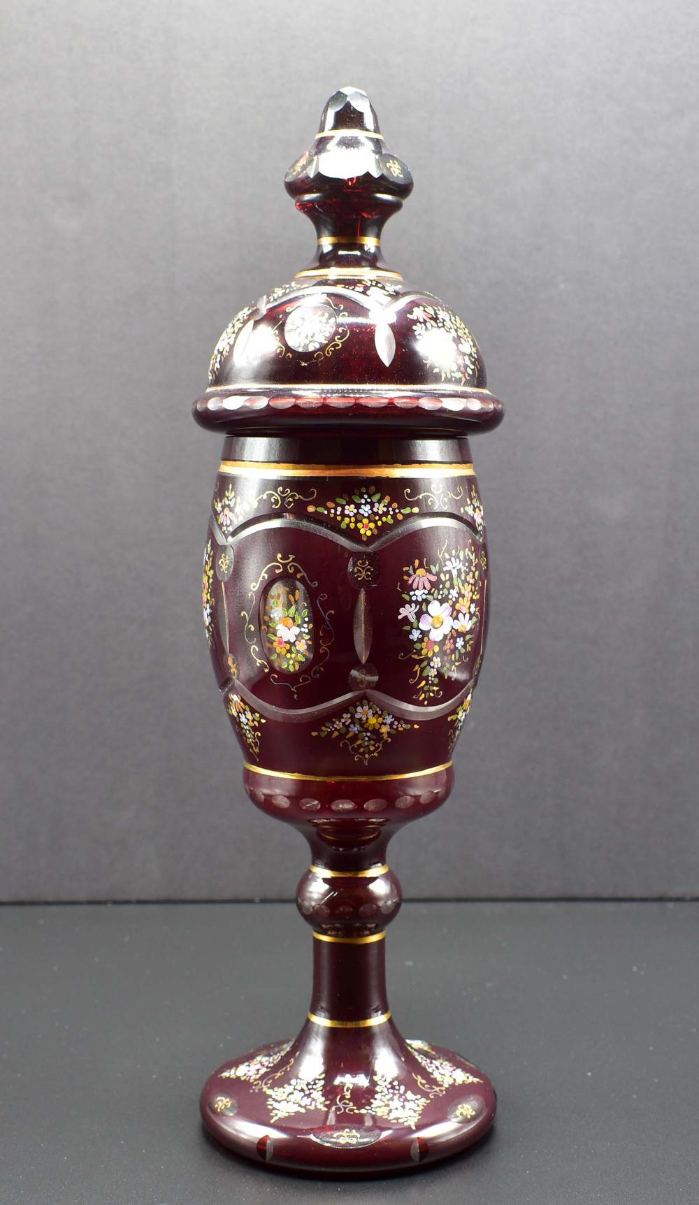 LARGE BOHEMIAN ENAMELED RUBY GLASS COVERED GOBLET