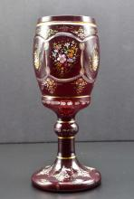 Lot 201: LARGE BOHEMIAN ENAMELED RUBY GLASS COVERED GOBLET
