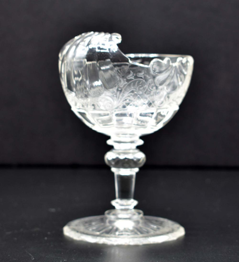 Lot 205: PAIR OF LOBMEYR NAUTILUS-FORM GLASS SWEETMEAT STEM CUPS
