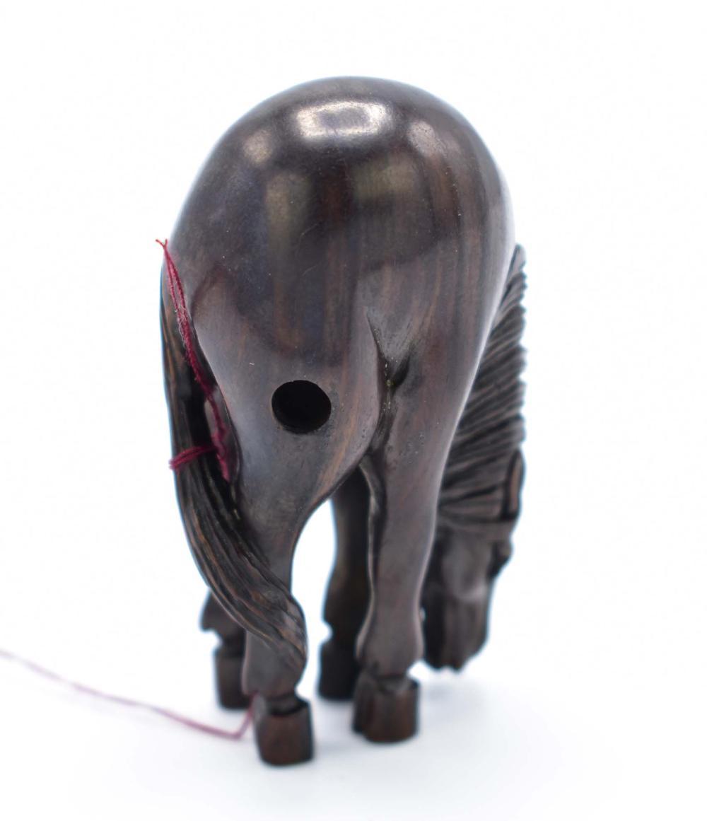 Lot 223: JAPANESE CARVED WOOD HORSE NETSUKE