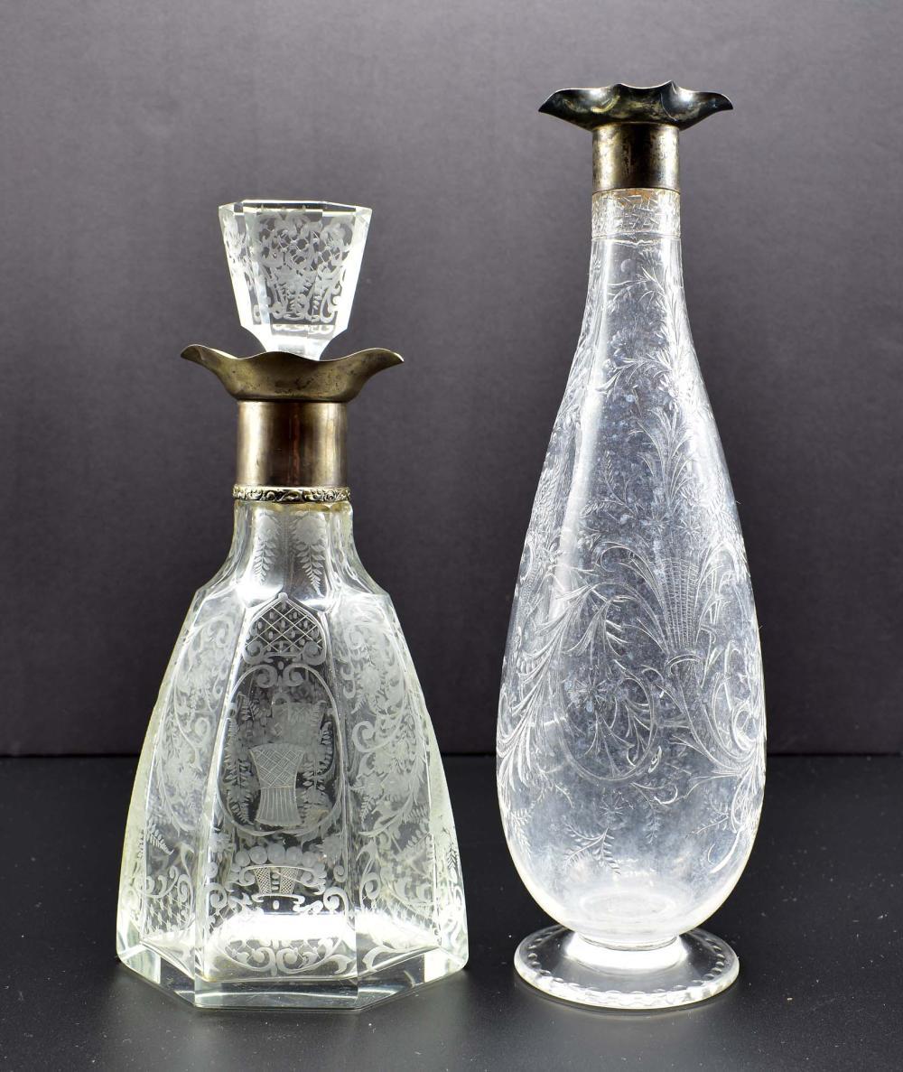 Lot 225: ENGLISH ROCK CRYSTAL EWER & LOBMEYR GLASS EWER