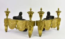 Lot 233: PAIR OF EMPIRE PATINATED AND GILT BRONZE CHENETS