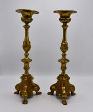 Lot 234: PAIR OF CONTINENTAL BAROQUE STYLE BRONZE CANDLESTICKS
