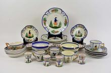 Lot 237: THIRTY-ONE QUIMPER EARTHENWARE TABLE ITEMS