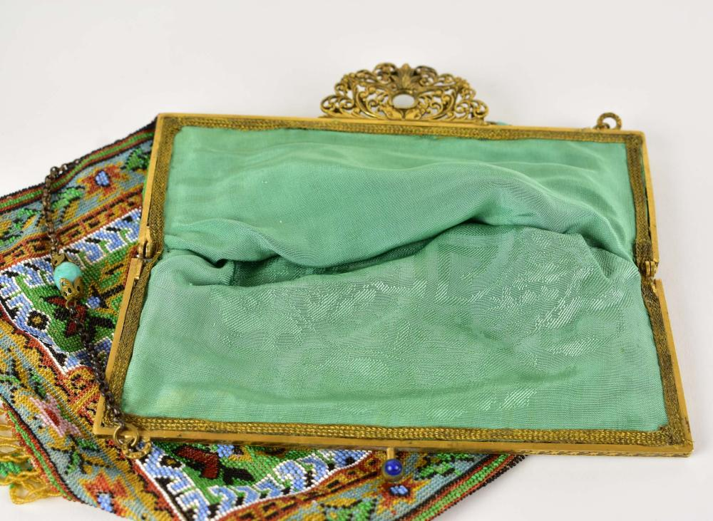 Lot 236: FINE FRENCH 1920'S JEWEL-MOUNTED GLASS MICRO-BEAD PURSE