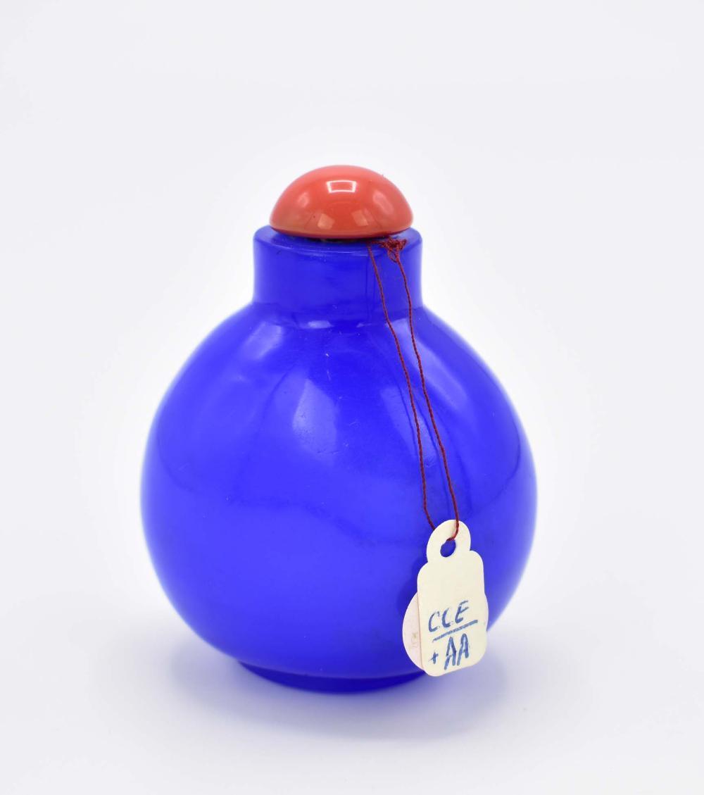 Lot 257: CHINESE PEKING BLUE GLASS SNUFF BOTTLE