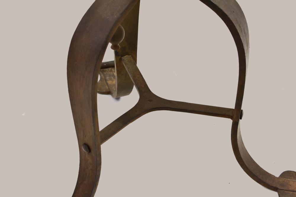 Lot 266: BAROQUE STYLE WROUGHT IRON TRIPOD FLOOR LAMP