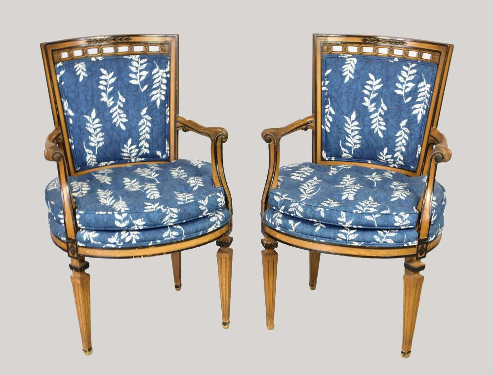 Lot 285: ITALIANATE PEDESTAL TABLE & SIX CANE-BACK CHAIRS