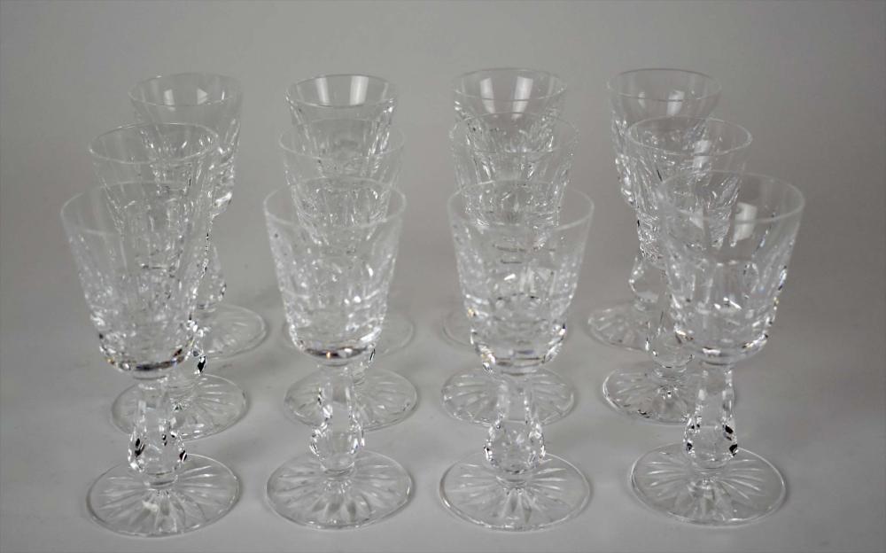 Lot 288: SET OF TWELVE WATERFORD CUT GLASS CORDIALS