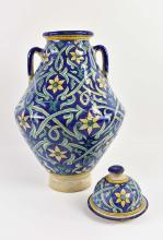 Lot 273: MOROCCAN CERAMIC TWO-HANDLED COVERED JAR