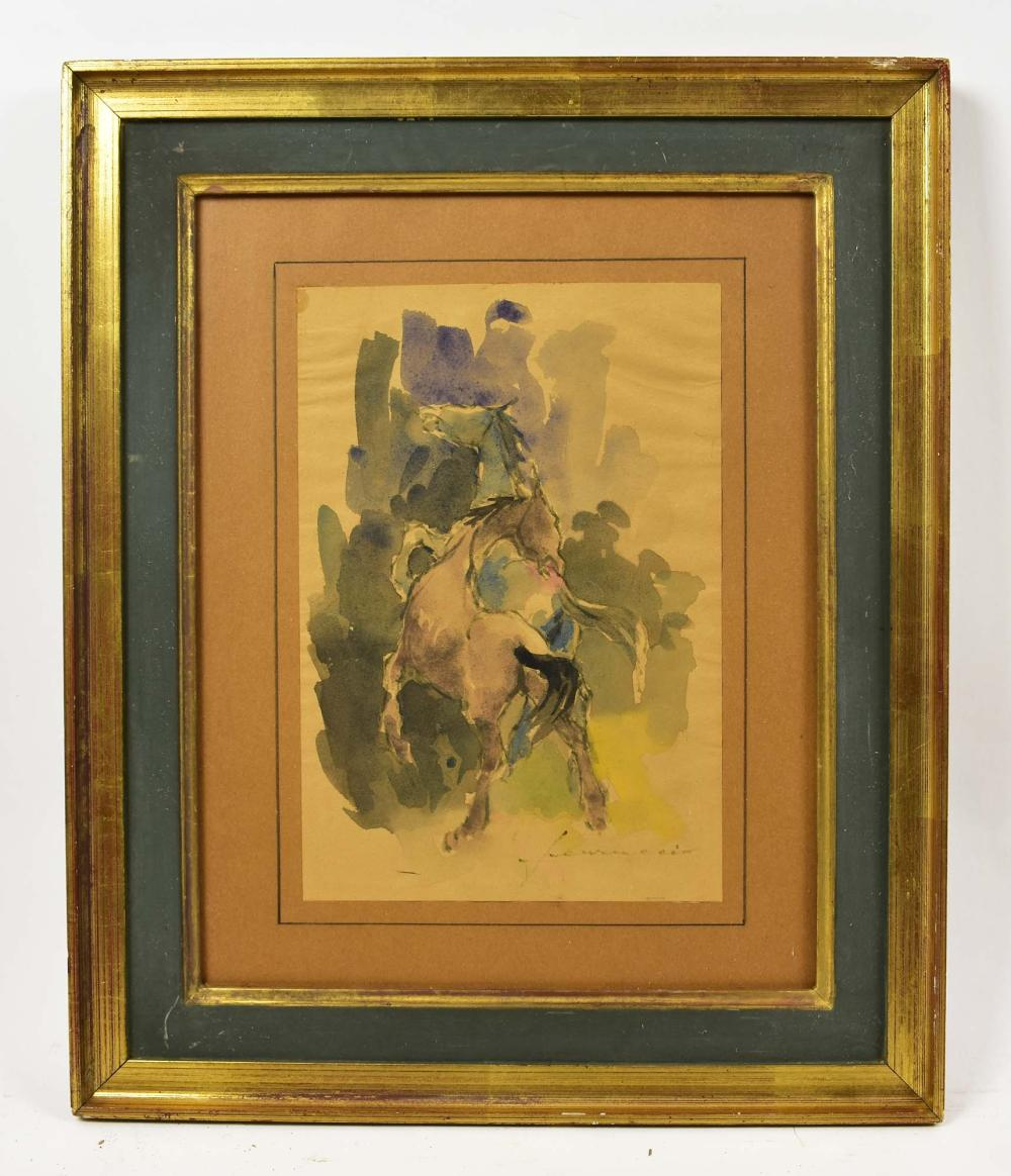 Lot 279: LATIN AMERICAN WATERCOLOR ON PAPER PAINTING