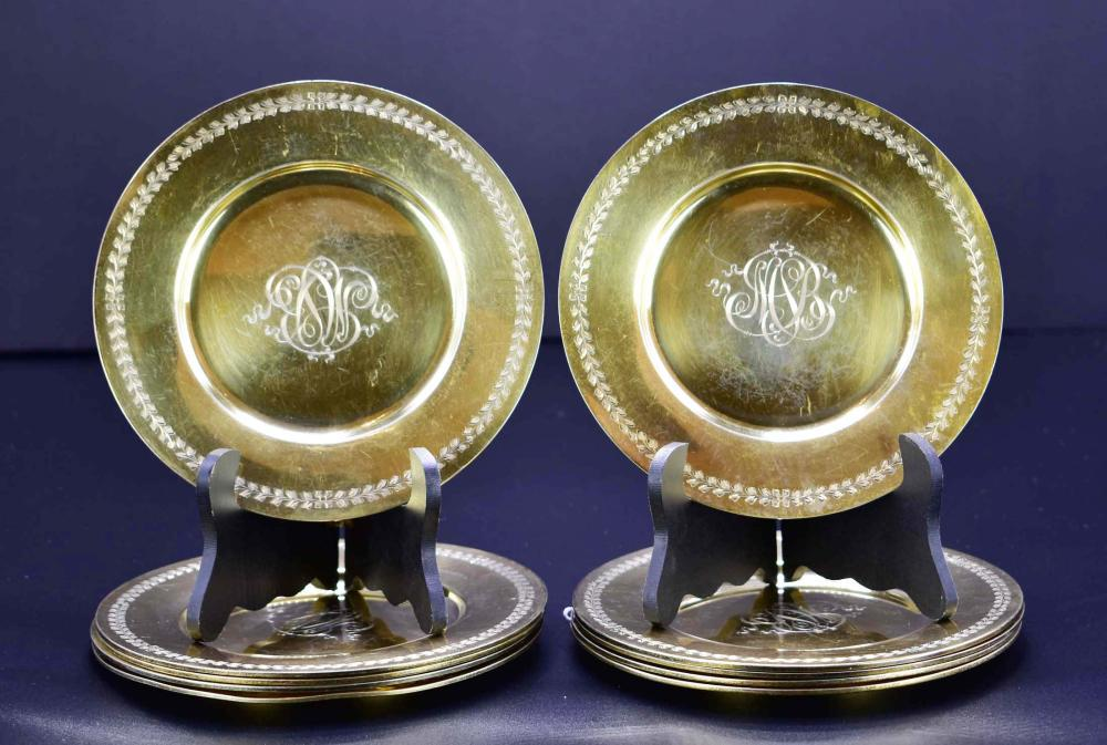 SET OF TEN AMERICAN GILT STERLING SMALL CIRCULAR PLATES
