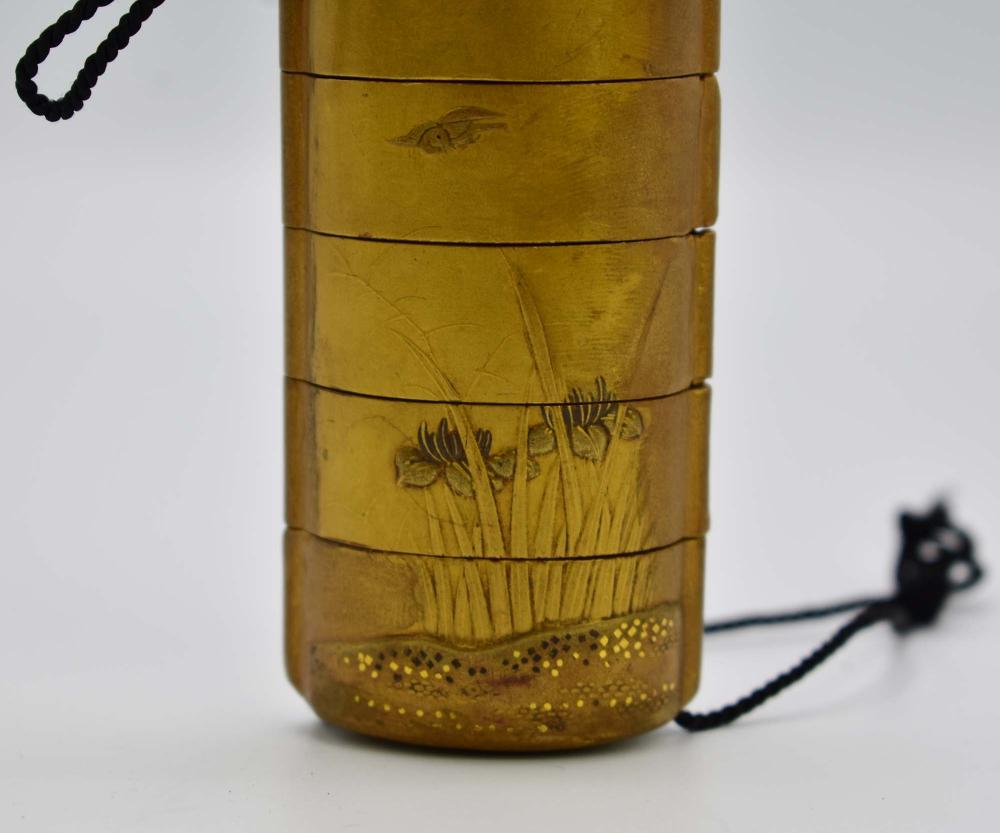 Lot 42: JAPANESE GILT LACQUER INRO
