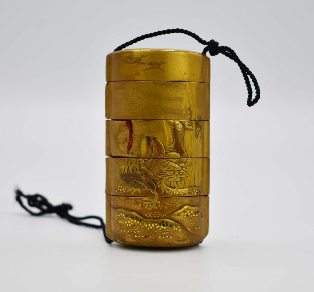 JAPANESE GILT LACQUER INRO