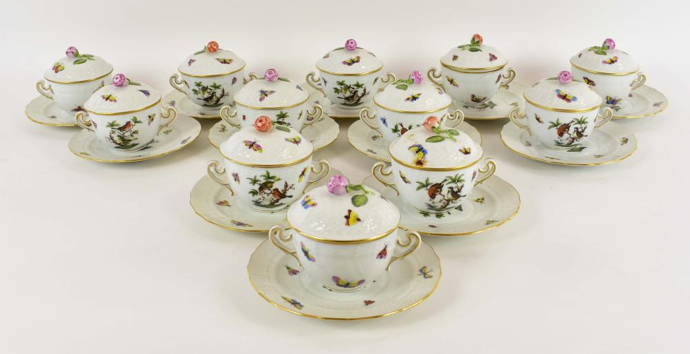 TWELVE HEREND ROTHCHILD BIRD BOUILLON CUPS & SAUCERS