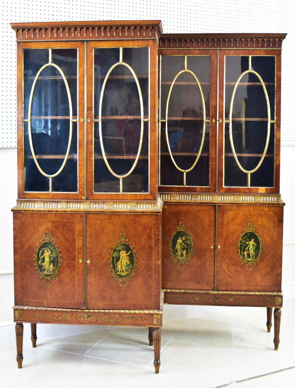 PAIR EDWARDIAN PARCEL GILT PAINTED SATINWOOD CABINETS