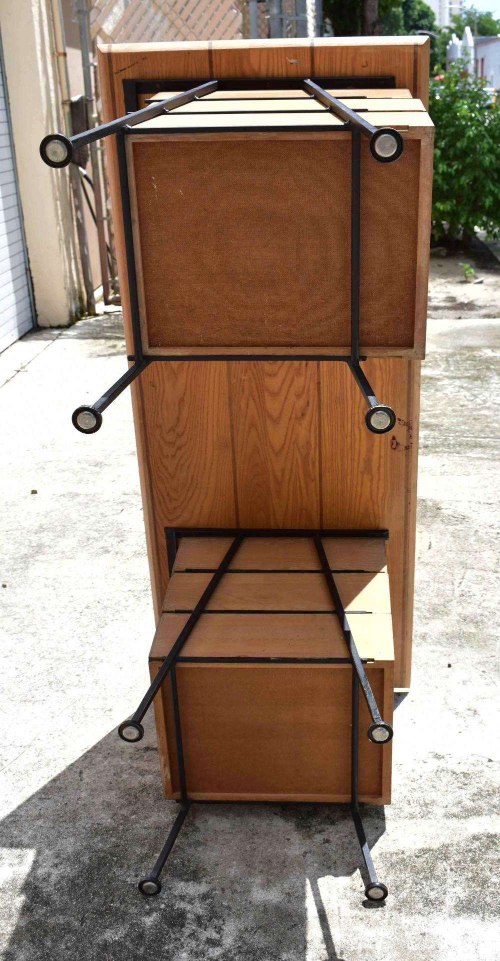 Lot 209: MID CENTURY IRON AND BLEACHED WOOD WRITING DESK