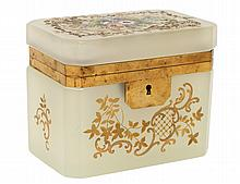 FINE ENAMELED OPALINE GLASS BOX