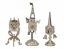 GROUP OF THREE JUDAICA SILVER SPICE TOWERS