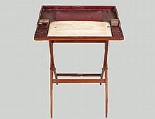 REGENCY INLAID MAHOGANY CAMPAIGN DESK