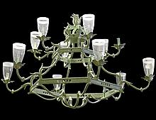 TWELVE LIGHT PAINTED METAL CHANDELIER