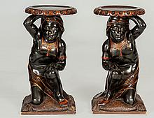 PAIR OF CARVED WALNUT BLACKAMOORS