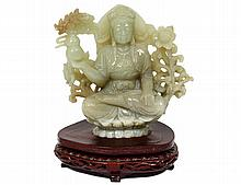 CELADON JADE FIGURE OF TARA