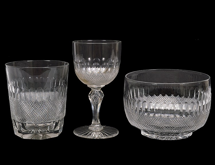 FORTY-ONE PIECE COLORLESS CUT GLASS DRINKS SERVICE