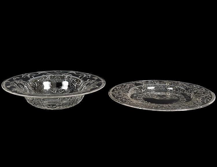 TWENTY-FOUR INTAGILIO CUT COLORLESS GLASS BOWLS & PLATES