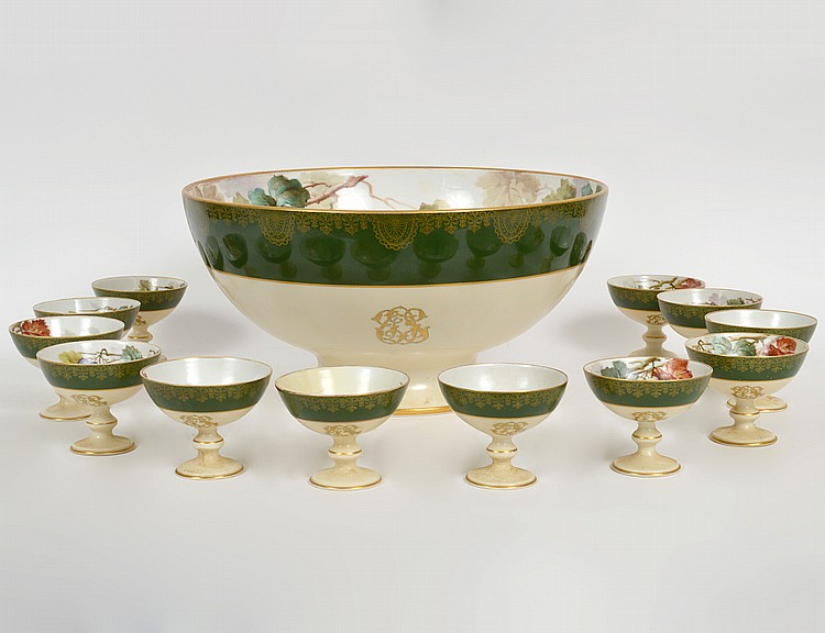 LIMOGES PAINTED PORCELAIN PUNCH BOWL WITH TWELVE CUPS