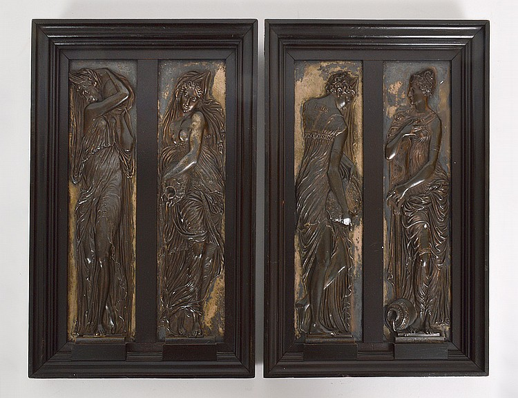 FOUR BARBEDIENNE PATINATED BRONZE PLAQUES