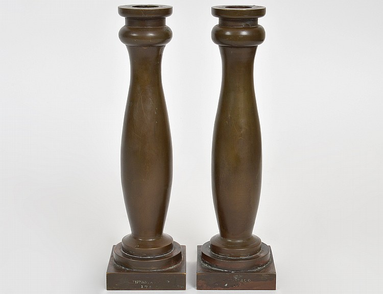 PAIR OF TIFFANY & Co BRONZE CANDLESTICKS