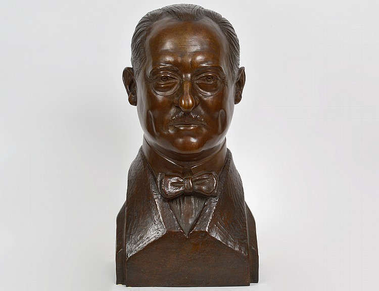 PAINTED BRONZE BUST OF DR. EUGENE A. MARKUSH