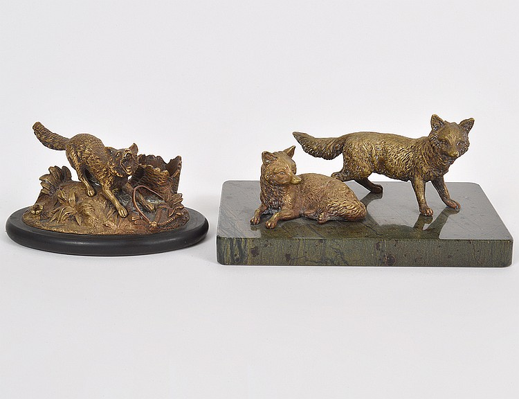 TWO CONTINENTAL PATINATED BRONZE FOX GROUPS