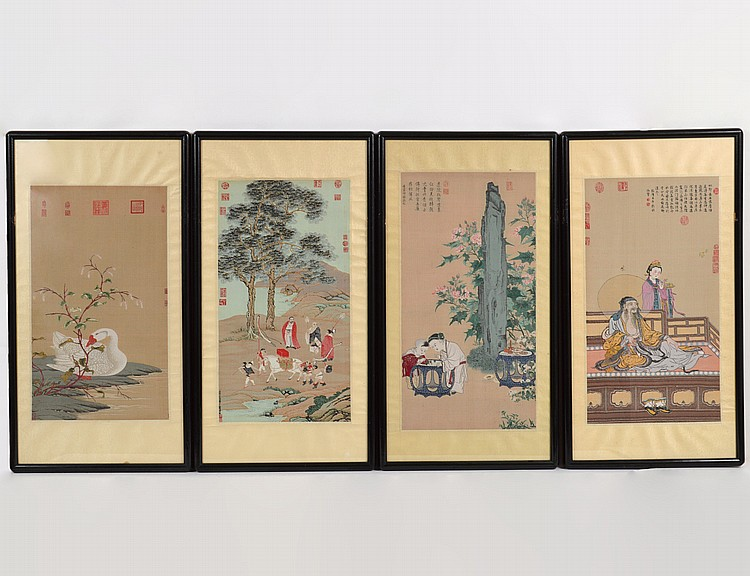 FOUR CHINESE EMBRIODERED SILK PANELS
