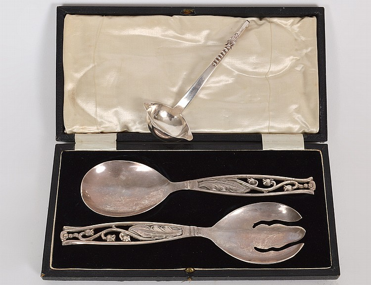 STERLING SILVER SALAD SPOON & FORK & A CREAM LADLE