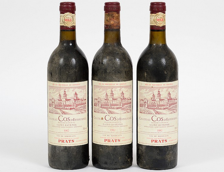 THREE VINTAGE FRENCH 1982 COS D'ESTOURNEL RED WINES