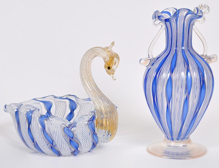 VENETIAN BLUE & WHITE LATTICINO GLASS COUP & VASE