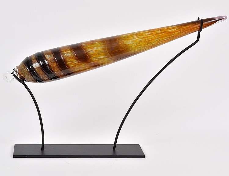 CONTEMPORARY STUDIO GLASS CONE SHELL ON STAND